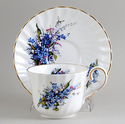 [English Bone China Forget Me Not Cup & Saucer] (Bone China Cup Saucer)