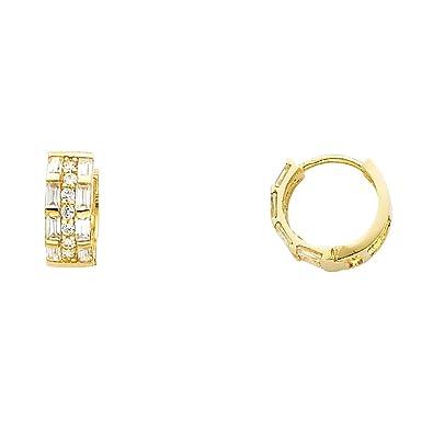 Small Three Row Round Cut CZ Huggie Hoop Earrings Real 14K Yellow Gold