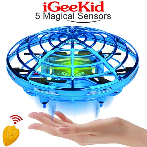 Kids Mini Drones Hand Operated Flying Toy Holiday Toy for Boys Age 3-14 Infrared Induction Helicopter Flying Ball with 360° Rotating and LED Lights Outdoor Sports Toy Kids Christmas Gift-Blue (Control Infrared Helicopter)