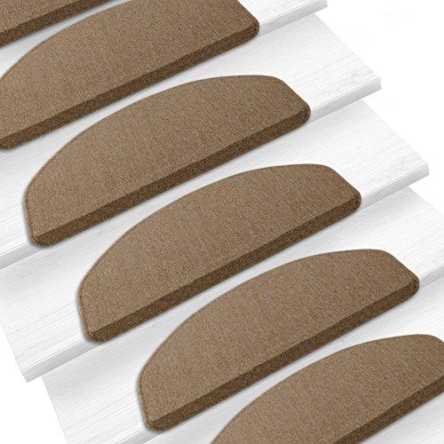 Stufenmatten Rambo-Star 15er SparSet 11 Farben sauber eingekettelt, starke Befestigung, stabile Winkelschiene (Braun-Beige)