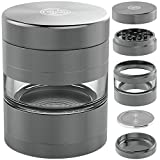Herb Grinder with Pollen Catcher - Large 2.5 Inch 5 Piece Set - Best for Weed/Tobacco/Spice - Includes REMOVABLE Stainless Steel Screen/Kief Scraper/Travel Bag - 9to5 Grinders (Gunmetal)
