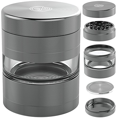 Herb Grinder with Pollen Catcher - Large 2.5 Inch 5 Piece Set - Best for Weed / Tobacco / Spice - Includes REMOVABLE Stainless Steel Screen / Kief Scraper / Travel Bag - 9to5 Grinders (Micron Bag Plastic Ring)