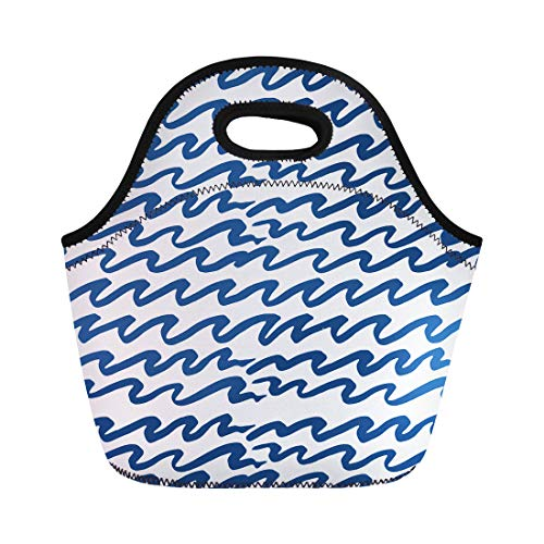 Semtomn Neoprene Lunch Tote Bag Watercolor Pattern Ocean Waves Batik Indigo Shibori Japanese Reusable Cooler Bags Insulated Thermal Picnic Handbag for Travel,School,Outdoors,Work ()