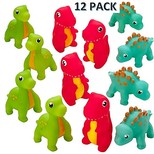 CUZAIL Rubber Dinosaur Squirt Toy- 3'' Bath Fun 12 Pack Pool & Beach Toy - Assorted Colors ()
