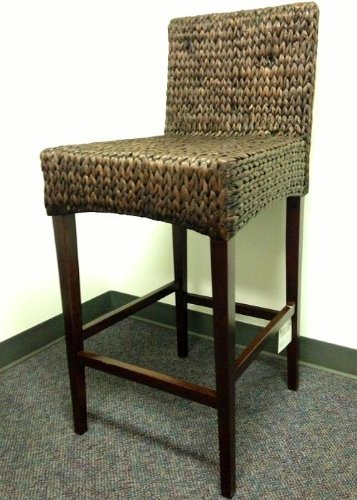 2 Seagrass Handwoven Barstools - Dark (Pottery Barn Seagrass Stool)