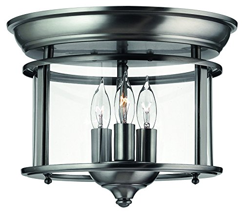 Hinkley 3473PW Traditional Three Light Flush Mount from Gentry collection in Pwt, Nckl, B/S, Slvr.finish,