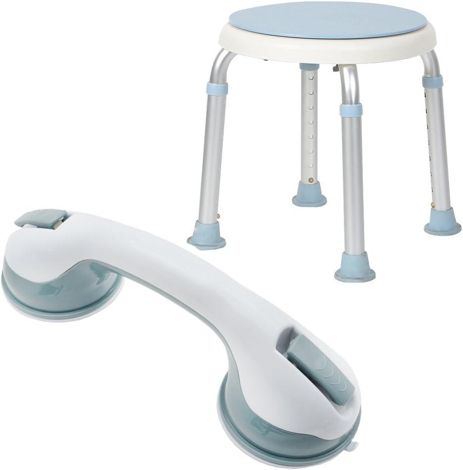 hengmei ducha taburete silla de ducha de baño + Mango Asidero Ventosa Asidero embarazada para un duchas y Baden