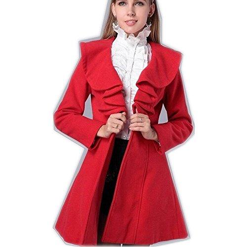 Trench Manteau Rouge profond Hee Col Double Droit Femme Grand Boutonnage qp8nzwxt6n