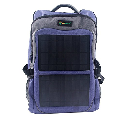 SUNKINGDOM portable hiking Powered Waterproof Anti-theft Durable Laptop solar Backpack,highest 12W(Watts) Solar Panel Charge with two USB voltage controller for Smart Cell Phones and Tablets ()