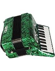 Akordeon fortepianowy, drewno klonowe 22 klawisze 8 klawiatura basowa akordeon instrument muzyczny zabawka z paskami rękawice czysta ściereczka dla początkujących studentów (zielony)