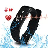 AK1980 Activity Tracker with Heart Rate Monitor Blood Pressure Bluetooth 4.0 IP67 Waterproof for Shower Steps Tracker Calorie Counter Watch for Android iPhone Smart Bracelet Fitness Tracker (Black)