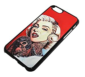 Protección Case Cover Funda Cascara para Apple iPhone 6 [4.7 inch] Tattoo Marilyn Monroe Bad Girl 70's Sexy Stars Hollywood US USA America American United States Bad Blonde Curly Lips Lip Stick Gang Changed Slim Hipster Popular Hipster Popular Classic Trendy Vintage Duraterm Technology