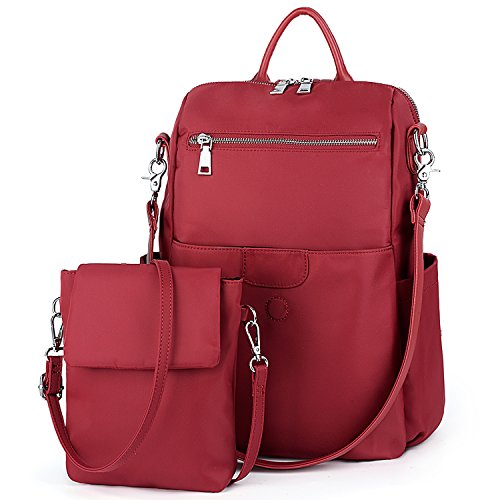 UTO Women Backpack Purse Oxford Waterproof Cloth Nylon Ladies Rucksack Detachable Crossbody Shoulder Bag B Red