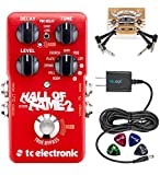 TC Electronic Hall of Fame 2 Reverb Pedal with TonePrint Bundle with Blucoil Power Supply Slim AC/DC Adapter for 9 Volt DC 670mA,...