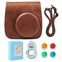 UMTELE Accessory Kit For Fujifilm Instax Mini 9, Travelling PU Leather Bag, Photo Album, Selfie Lens and Colored Filters, Compatible with Fujifil Instax Mini 9/8+/8