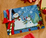 Cutting Board Snowman and Knife Set 11x8 Inches