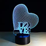 Fenleo 3D illusion Visual Heart Night Light 7 Colors Change LED Desk Lamp Bedroom Home Decor Review