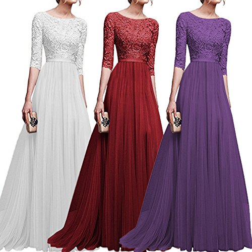 Women-Retro-Floral-Lace-Long-Dress-12-Sleeve-Bridesmaid-Wedding-Evening-Party-Cocktail-Maxi-Gown
