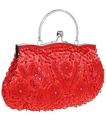 (iToolai Satin Purse Evening Handbags Wedding Bag Beaded Sequins Clutch)