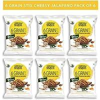 The Green Snack Co. Six Grain Stix Cheesy Jalapeno (Pack of 6) 25g Each (Multigrain Healthy Snacks)