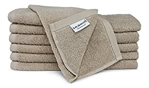 SALBAKOS Luxury Hotel & Spa Turkish Cotton 12-Piece Eco-Friendly Washcloth Set for Bath, Taupe
