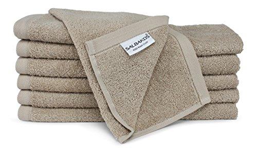 SALBAKOS Luxury Hotel & Spa Turkish Cotton 12-Piece Eco-Friendly Washcloth Set for Bath, Taupe