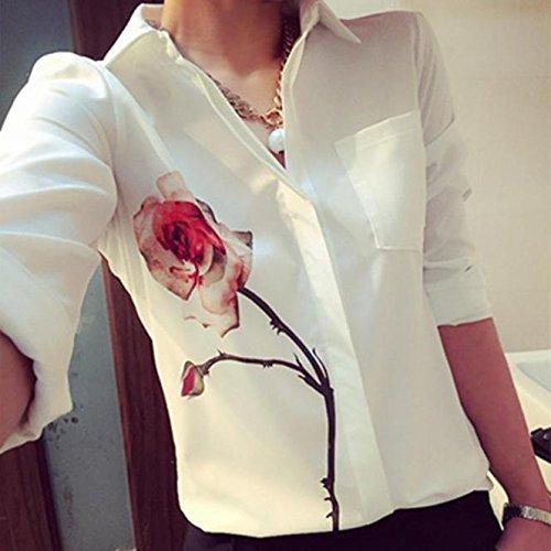 En Chemisier Longues Chemises Bas Mousseline Femmes Malloom Du Chemise Tourner Col Le Soie De Fleur Vers Manches Rose tBx10BqYw