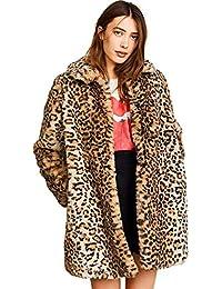8a2b9ec91a Women Warm Long Sleeve Parka Faux Fur Coat Overcoat Fluffy Top Jacket  Leopard Brown
