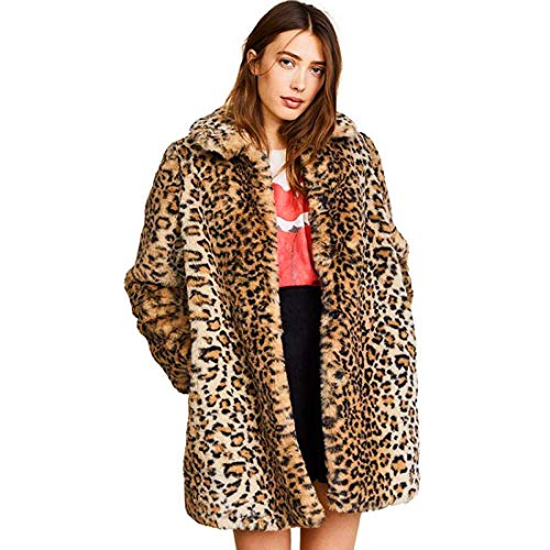 Women Warm Long Sleeve Parka Faux Fur Coat Overcoat Fluffy Top Jacket Leopard (US 2 = Asian S) Brown