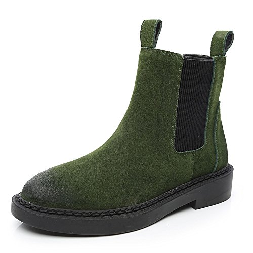 XIA Weibliche Stiefel Flach Scrub Schwarz Army Grün Kurze Stiefel Britischer Stil Im Freien Army green - thick