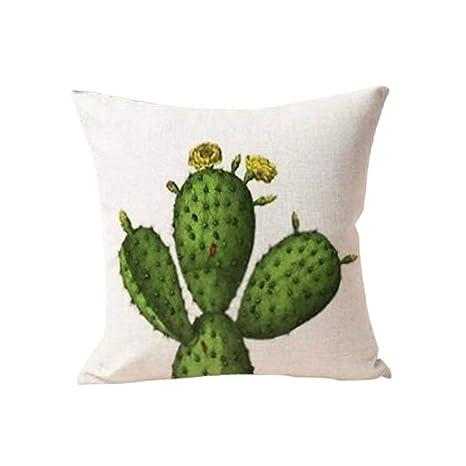 LSTC Funda de cojín de Lino con diseño de Cactus, 45 x 45 cm ...