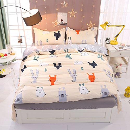 Beddinginn Cartoon Kids Bedding Set Cute Fox And Fat 3pcs Cat Bed Set Child Reversible Duvet Cover Sets (Queen)