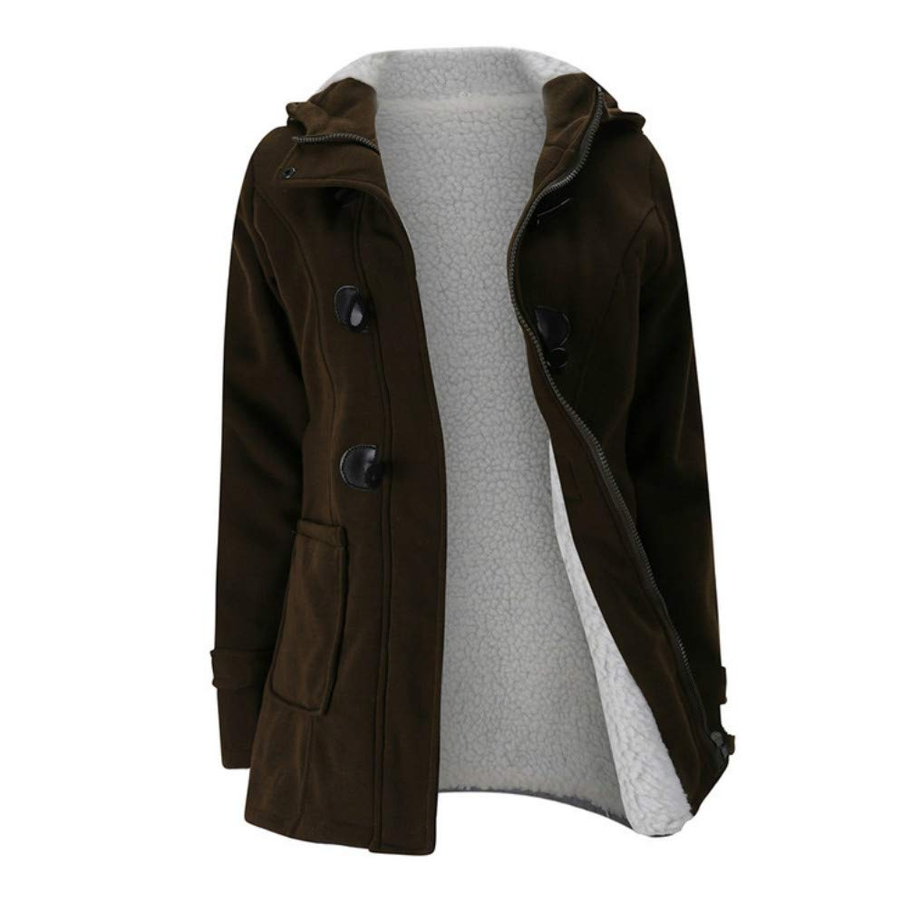 DOKER Women's Slim Fit Windproof Single Breasted Cashmere Hoodie Coat