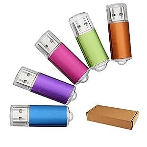 JUANW 5 Pieces 32GB USB 2.0 Flash Drive Memory Stick Storage Thumb Stick Pen (Five Mixed Colors: Blue Purple Pink Green Orange)