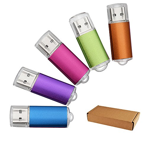JUANW 5 Pieces 1GB USB 2.0 Flash Drive Memory Stick Storage (Five Mixed Colors: Blue Purple Pink Green Orange)