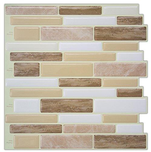 Peel and Stick Wall Tiles, Verona Beige Stone Tile, Backsplash Tile Stickers, 10