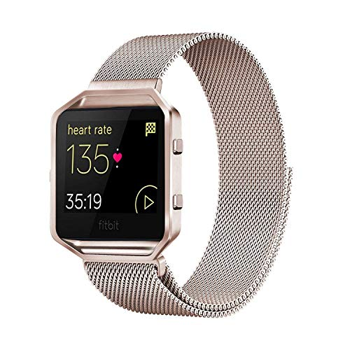 Andyou Fitbit Blaze Band with Frame, Stainless Steel Replacement Adjustable Band with Metal Frame for Fitbit Blaze Women Men,Champagne Gold Small
