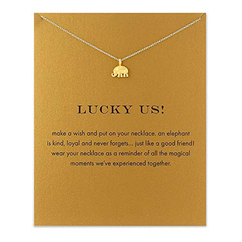 - QXFQJT Friendship Wish Elephant Pendant Necklace with Meaning Card (Elephant)