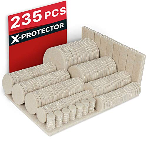 Felt Pads X-PROTECTOR - Giant 235 Pack Premium Furniture Pads. Huge Quantity Felt Furniture Pads Wood Floor Protectors for Furniture Feet - Best Hardwood Floor Protectors. Protect Your Wood Floors!