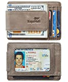 NapaWalli Genuine Magnetic Napa Leather Front Pocket Money Clip Slim Minimalist Wallet Made with Powerful RARE EARTH Magnets Plus RFID Blocking (Vintage Gray)