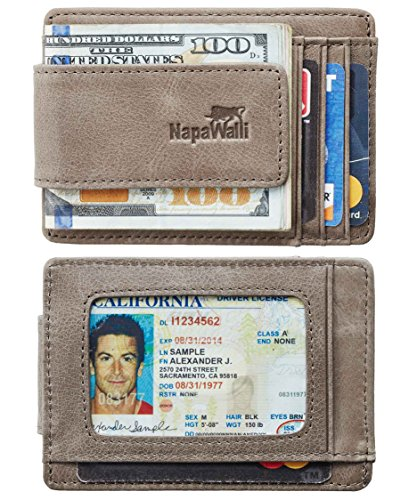 - Toughergun Genuine Magnetic Napa Leather Front Pocket Money Clip Slim Minimalist Wallet Made with Powerful RARE EARTH Magnets Plus RFID Blocking (Vintage Gray)