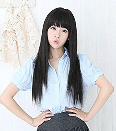 Amazon Com Generic 65cm Women Cos Daily Black Brown Flaxen Long