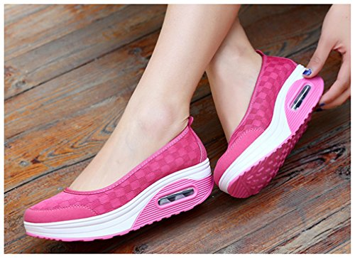 NEWZCERS Fashion Comfy Outdoor Sport Running Walking Riding Camouflage Air Cushioning Shoes Sneakers Trainers for Women Rose Red ry4vwR