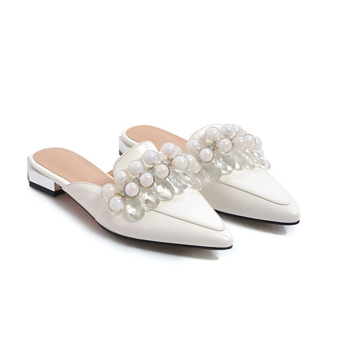 White T-JULY Women Pumps Pu Leather Slip-on shoes String Bead Pointed Toe Square Low Heels Dress Mules Casual shoes