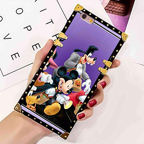 Square Edge Case Compatible for iPhone 6 Plus (2014) and iPhone 6s Plus (2015) [5.5 Version] Halloween Mickey Mouse and Minnie Mouse Goofy Donald Duck Pluto Disney Halloween Wallpaper]()