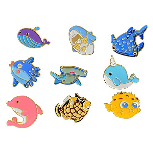 (WINZIK Lapel Pins Set Novelty Cute Cartoon Brooch Badges for Children Adults Clothes Backpacks Decor (Cute Dolphin Fish Pins Set of 9))