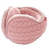 Halemet Winter Knit Ear Warmers for Women Foldable Unisex Outdoor Thicken Earmuffs Pink