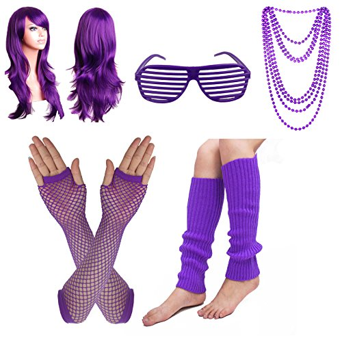 Fishnet Necklace - Women's 80s Costume Set Adult Tutu Skirt Fishnet Gloves Neon Leg Warmer Earrings (Set U)