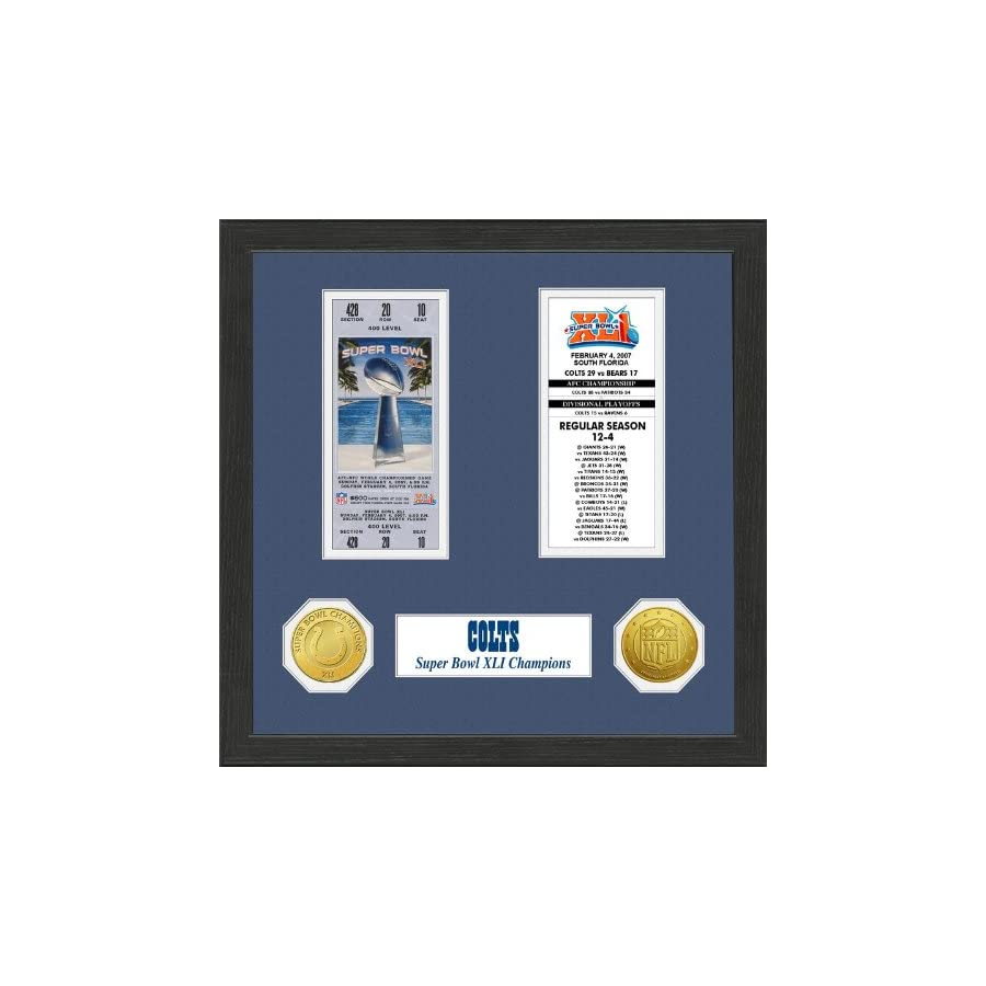 The Highland Mint 1 Pc, Indianapolis Colts Super Bowl Ticket Collection Plaque, 12 x 15 Wood Frame, Double Matting With Solid Bronze Super Bowl Champions Commemorative Coin & Solid Bronze NFL Coin