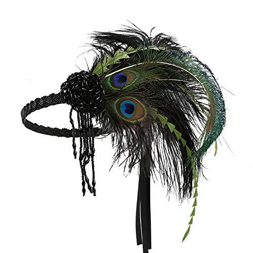 LATIMOON 1920s Flapper Headband Peacock Ostrich Feather Headband Roaring 20s Gatsby Headpiece Hair Accessories (A-Peacock Green) ()